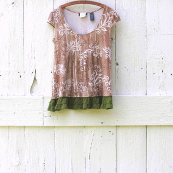 Women's Babydoll Tunic Top , Upcycled green eco clothing , bohemian shirt size medium , tan recycled refashioned clothes by wearlovenow
