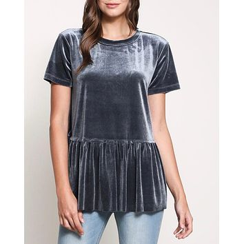 On the road peplum velvet tee - teal