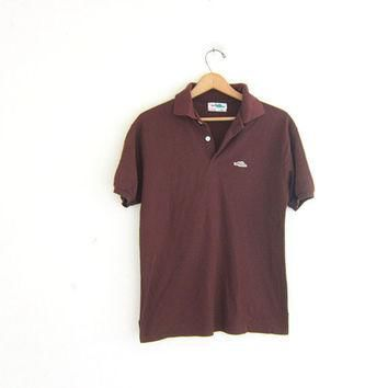 vintage brown alligator logo henley shirt. boyfriend Polo shirt / hipster clothing / s
