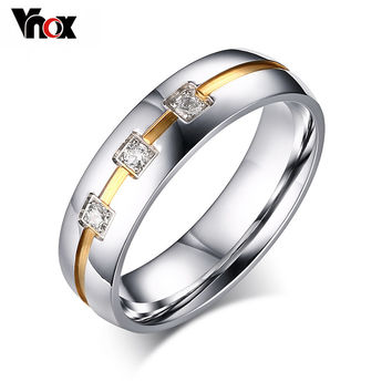 Fashion CZ Diamond Rings For Women 6mm Wedding Bands Engagement Ring Vnox Jewelry USA Size