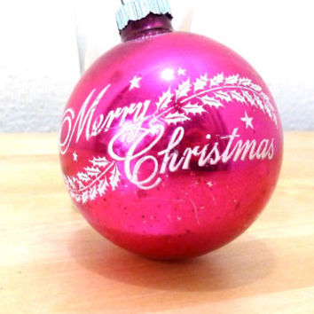 Vintage Shiny Brite / Glass Ornament / Merry Christmas / Pink and White / Ball Ornaments / Christmas Ornaments / Mercury Glass / Glitter