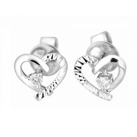18K White Gold Heart Round Diamond Solitaire Cut Stud Earrings (1/20 cttw, G-H color, SI1 Clarity)
