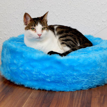 Cat bean bag faux fer bed blue fluffy fake fur bed for your cat royal bed for your pets gift filled with bean filling with non slip material