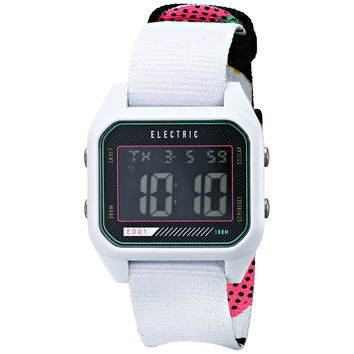 Electric Men's EW0110020026 ED01 Nato Band Digital Display Japanese Quartz White Watch