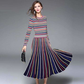 Rainbow Striped Women Fit Flare Dress Casual Cotton Knitting Empire Mid Calf Elasticity Women Dress