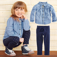 Girls 2pc Top + Polka Dot Pants Autumn Casual