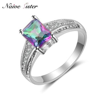 Shiny Colorful Stone Ladies Wedding Jewelry Fashion Engagement Rings For Women AAA CZ Stone Polished Silver Color Ring Love Gift