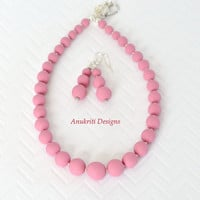 Pink Polymer clay Necklace Set **Free US Shipping** Pink beaded necklace, Pink beaded earrings,
