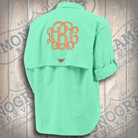 Monogrammed Fishing Shirt - Columbia PFG Men's Aqua Bahama II Long Sleeve (Font shown INTERLOCKING in coral)