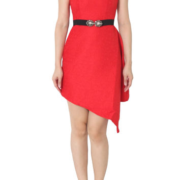 CAMILLA Rose Print Red Asymmetrical Dress