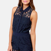 Best for Lace-t Navy Blue Lace Romper