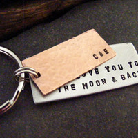 I Love You To The Moon And Back Keychain Copper Keychain