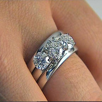 1.51ct G-SI1 3 Round Diamond Engagement Ring 18kt White Gold Fine JEWELFORME BLUE