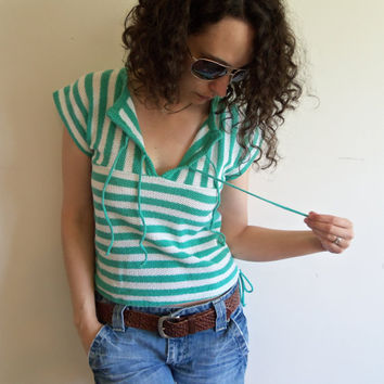 Vintage 70s Teal Green and White Striped Terry Cloth Open Knit Summer Beach Shirt