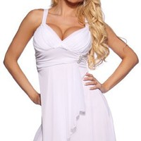 New Sexy Empire Waist Prom Cocktail Party Evening Dress, Large, White