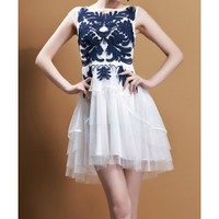 Fashion Fresh Attractive Embroidered Flowers Decorate Sexy Organza Dress