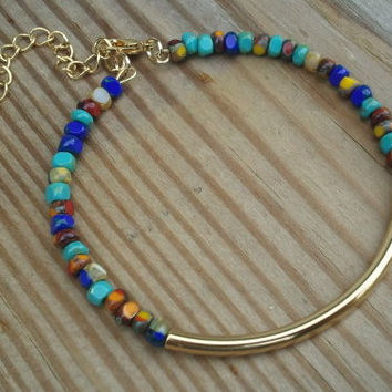 Adjustable Beaded Bangle Bracelet, Gold, Silver, Turquoise, Tangerine, Ivory, Boho Chic Jewelry, Stackable Bracelets, friendship bracelet