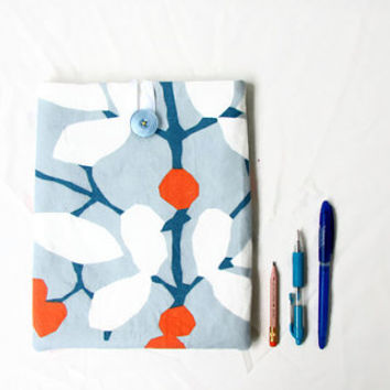 Fabric Ipad cover, 10 inch tablet case, blue and orange fabric tablet sleeve, fabric IPad case, IPad Air case, handmade in the UK