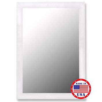 Hitchcock Butterfield Nuevo Glossy White And Petite Ribbed Framed Wall Mirror