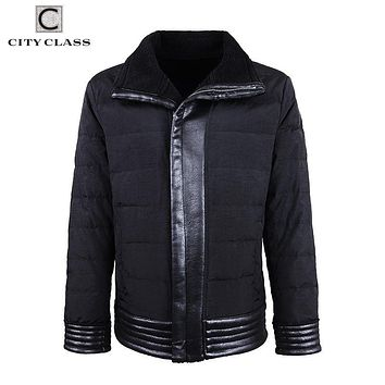 City Class 2018 New Fashion Autumn Winter Jackets Artificial Leather and Fur PU Coats Bio Down Casaco Zipper Down Jackets 17178