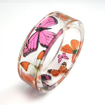 Orange and Pink Butterflies  Bracelet  size m by sisicata on Etsy