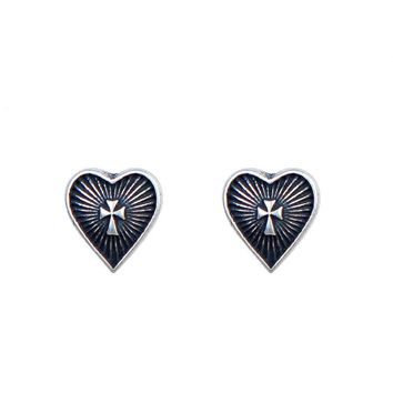 UMGODLY Retro Silver Color Earrings Heart Cross Ear Stud Earrings Gothic Punk Style Fashion Prevent