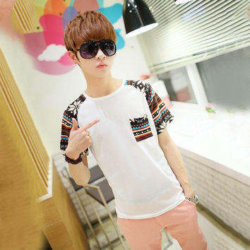 Korean Style Men Boys Short Sleeve T-Shirt Patchwork Tops Clothes O Neck T Shirt