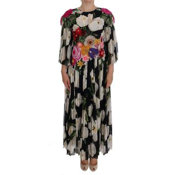 Dolce & Gabbana Black Silk Floral Tulip Dress