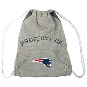 New NFL Hoodie Cinch Sling Bag Backpack Licensed NEW ENGLAND PATRIOTS Gray gift