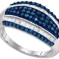 Blue Diamond Fashion Ring in 10k White Gold 0.85 ctw