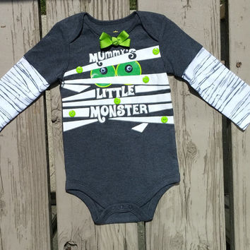 Baby Boy Halloween Outfit - Mummy's Little Monster - Mummy Outfit - Halloween