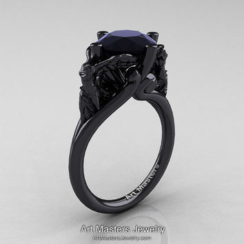 Art Masters Victory 14K Black Gold 3.0 Ct Black Diamond Nike of Samothrace Engagement Ring R617-14KBGBD