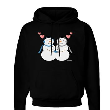 Cute Snowman Couple Dark Hoodie Sweatshirt by TooLoud