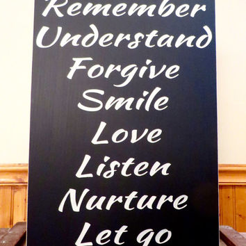 Wood sign - Breathe, remember, forgive, inspirational distressed wood sign - wall hanging sign, home decor sign - wall art