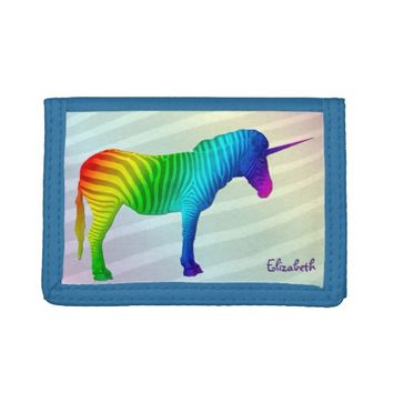 Sad Rainbow Zebra Unicorn Wallet