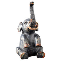 "4"" Pewter Elephant Ring Holder, Gray, Catchalls"