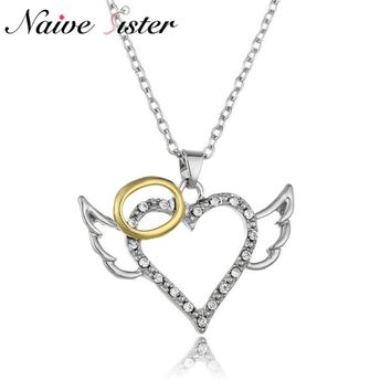 Fashion Angel Wings Love Heart Pendant Necklace For Women Round Shape Pendants Cute Girls Gifts Silver Color Link Chain Jewelry