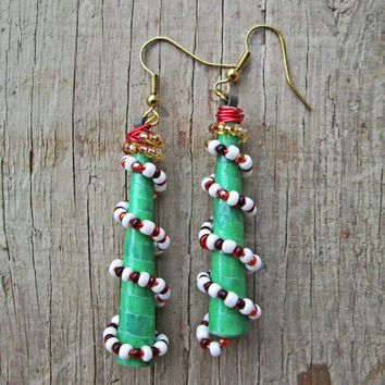 Upcycled, recycled, repurposed Paper earrings - Paper bead jewelry - Christmas tree earrings - eco jewelry - stocking stuffer - Xmas gift
