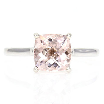Cushion Morganite Solitaire Engagement Ring Morganite by RareEarth