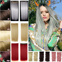 """Factory Price 26"""" 66CM As Real Natural Hair Extention 3/4 Full Head Clip in Hair Extensions Straight Blue Purple Free SHIP"""