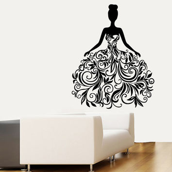 Wall Decals Vinyl Decal Fashion Girl in Floral Dress People Beauty Salon Home Vinyl Decal Sticker Kids Nursery Baby Room Decor kk11