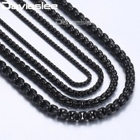 Men's Stainless Steel Round Link Chain Necklaces