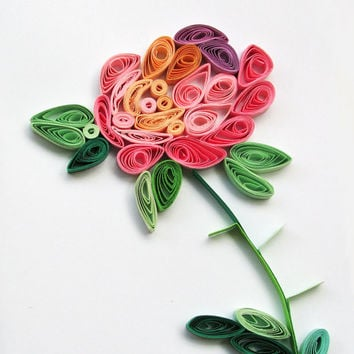 Pastel Rose Quilling Card, Handmade Greeting Card