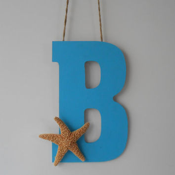 Starfish Decor -Letter -  Initial - Hand Painted Letter -  Wall Decor - Door Decor - Wreath - Beach House Decor - Starfish Wedding Decor