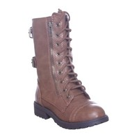 KID Multicolor Military Combat Lace up Boots with Side Zipper