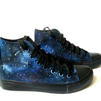 CREYUG7 Custom handpainted galaxy sneakers,personalized shoes, galaxy converse, galaxy vans