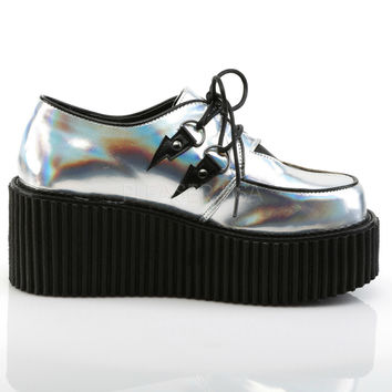 Silver Lightning Strikes Holographic Rave Creeper Shoes
