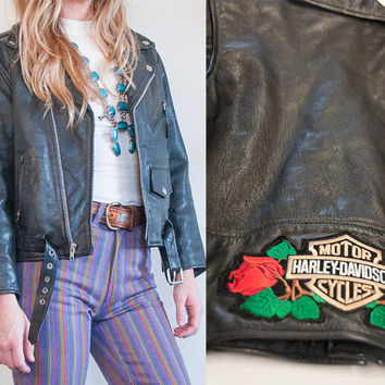 Womens XS Black Leather Motorcycle Jacket   Patched Harley Moto Jacket Small Fitted Genuine Leather Biker Boho Rocker Punk Grunge 80s 90s