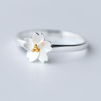 Freshness beauty cherry blossom 925 sterling silver ring,a perfect gift