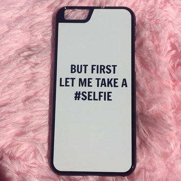 "White ""But First Let Me Take A Selfie"" iPhone 4 4S Hipster Phone Case"